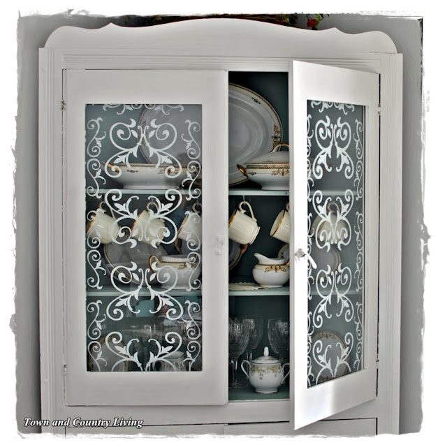 Town and Country Living: Stenciled Glass Cabinet Doors
