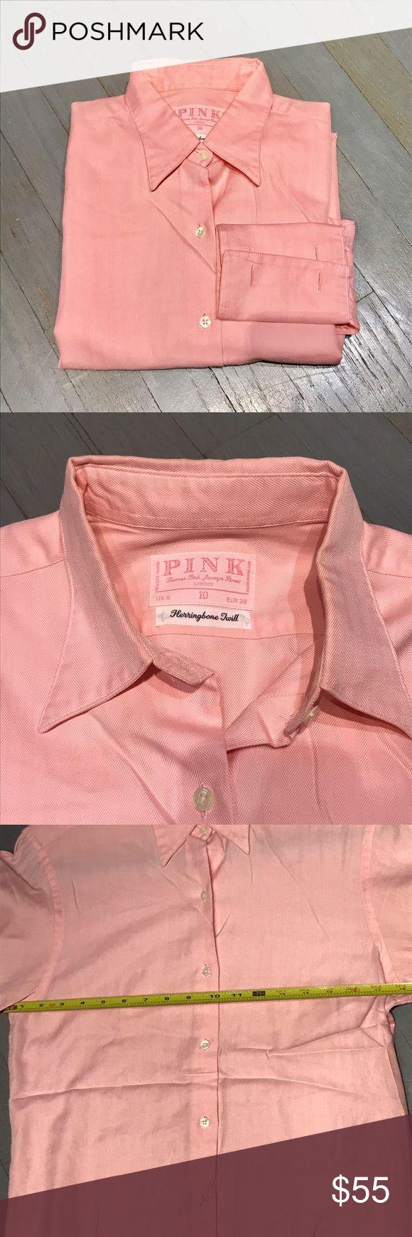 Thomas Pink pink herringbone twill French cuff Thomas Pink dark pink herringbone twill French cuff button down shirt. US 8/ TP 10 ASOS Tops Button Down Shirts