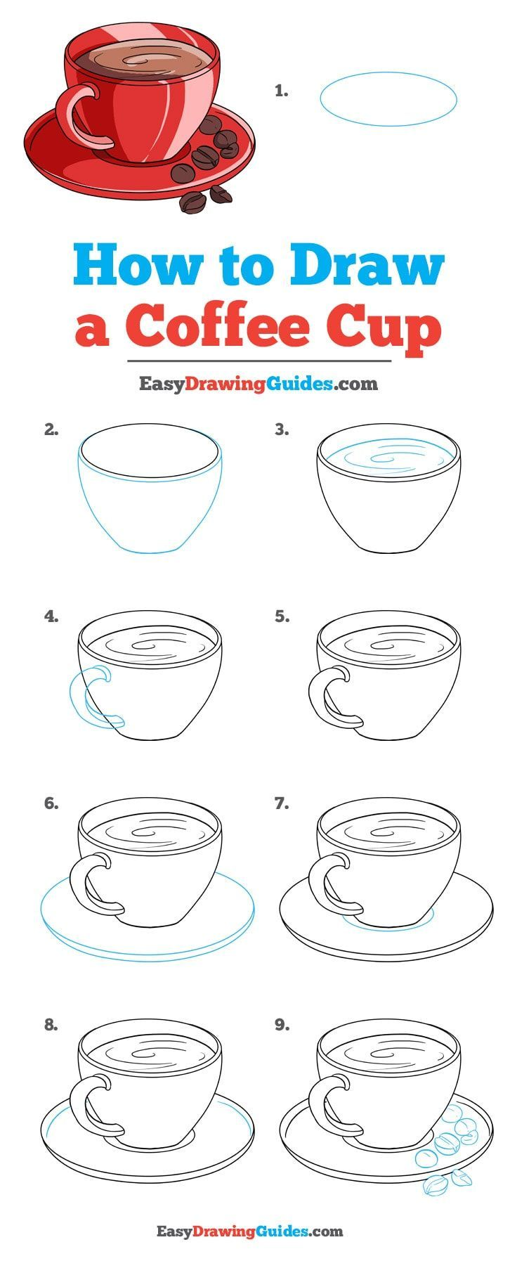 How to draw COFFEE CUP easy