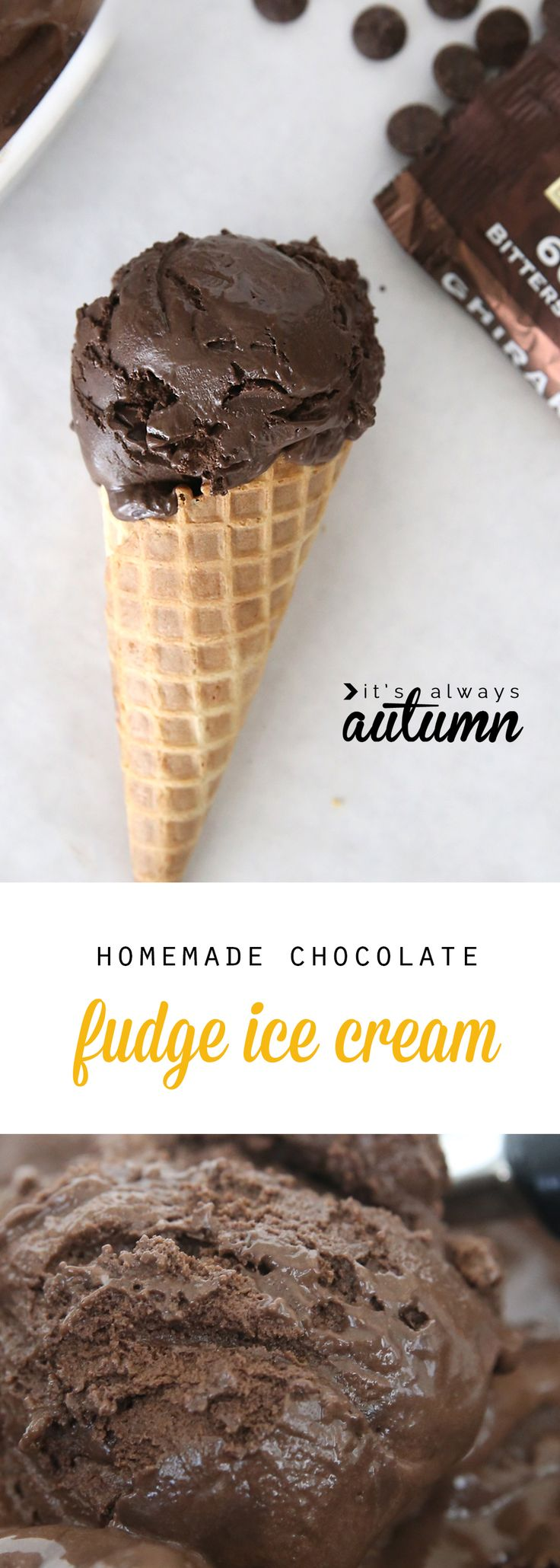 This homemade dark chocolate fudge ice cream is amazing! It's rich and creamy and better than anything you can get at the grocery store. Click through for the step by step video that makes it easy to follow the recipe.