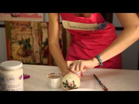 Decoupage on Christmas ball with Calambour rice paper - YouTube