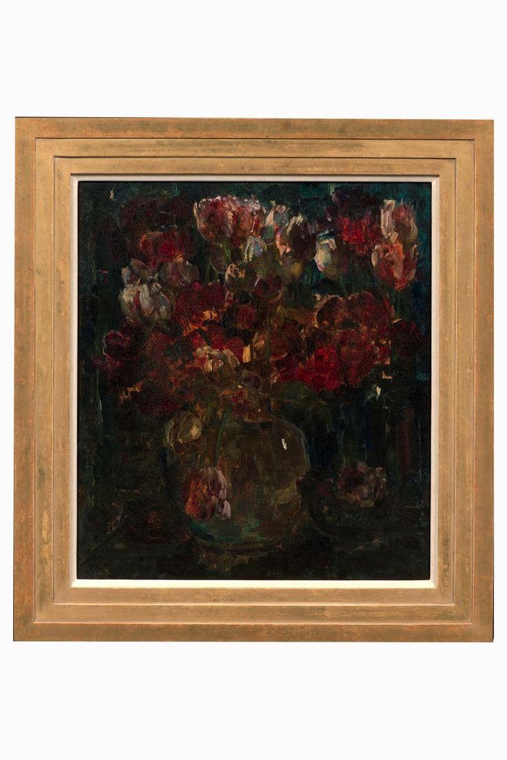 Rode tulpen in glazen pul, 1914 schilderij doek, olieverf Floris Verster