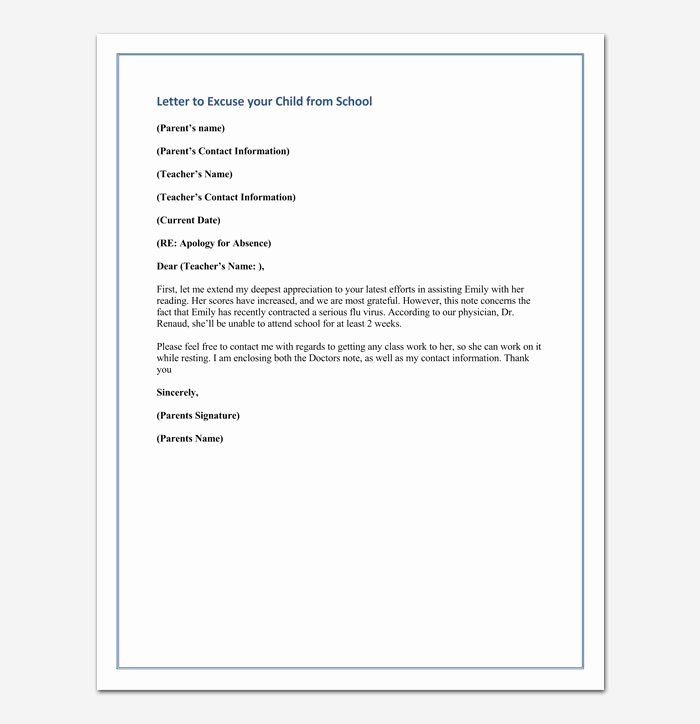 40 Absent Letter For School Lettering Business Letter Example
