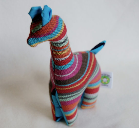 Teething Giraffe made from Neobulle Manon Gris woven baby wrap.