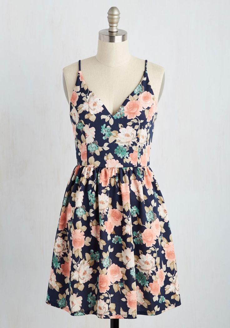 Find Your Grace in the Sun Dress in Navy - Multi, Blue, Floral, Print, Casual, Sundress, A-line, Sleeveless, Spring, Good, Short, Knit