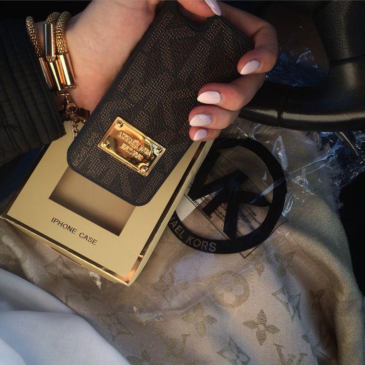 Michael kors case, louis vuitton scarf,  marc jacobs watch, car nails girl fashion luxury love