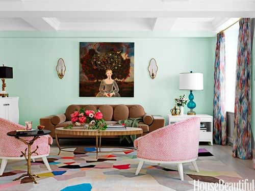 Love the use of pastels in a vibrant room like this. Try: Benjamin Moore Fresh Mint http://www.myperfectcolor.com/en/color/3365_Benjamin-Moore-2037-70-Fresh-Mint to get this look. Bold curtains in a living room by Fawn Galli. via House Beautiful