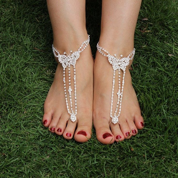 Dazzling tear drop shape, rhinestone encrusted wedding barefoot sandals. Style: Barefoot Sandals Size: One size Set of 2 FREE US SHIPPING For orders of four or more, please message me to ensure I can