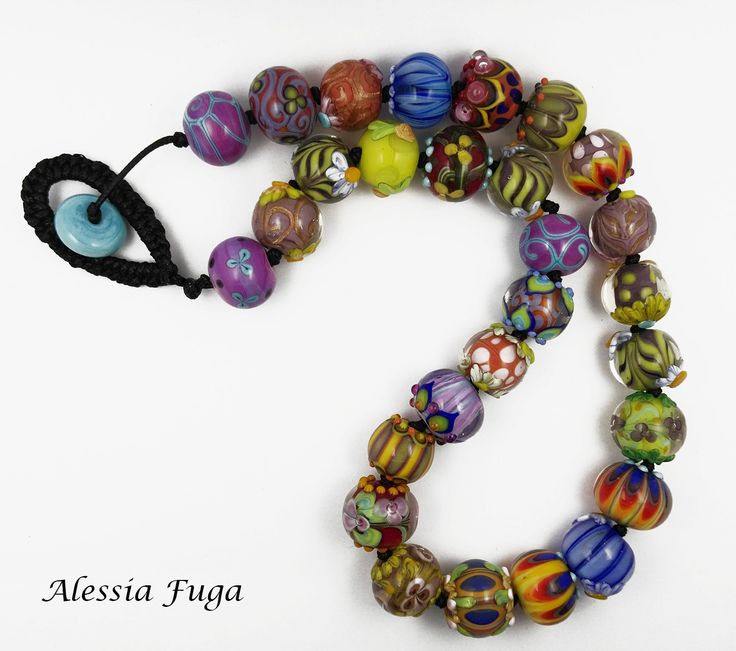 Secret garden-One of a kind lampwork glass beads necklace di alessiafuga su Etsy