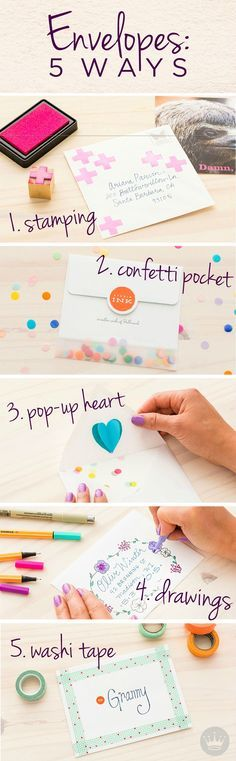 Add a little sumthin' special to your cards—whether it's to say thank you, happy birthday, or Merry Christmas—with this tutorial on 5 ways to add pizzazz to envelopes. This DIY idea from Think.Make.Share, a blog from the Creative Studios at Hallmark, includes stamping, 3D pop-ups, confetti, washi tape, and drawing designs.