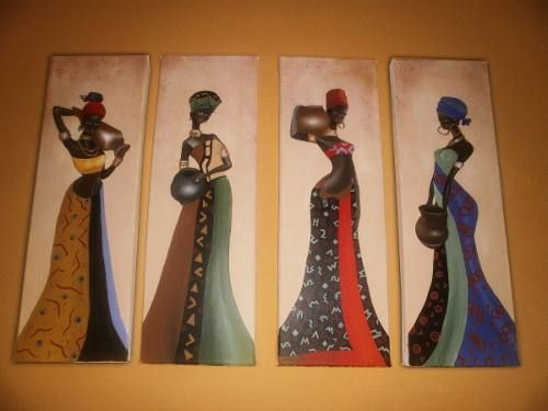 Cuadros Tripticos Polípticos Africanas, Modernos - $ 590,00