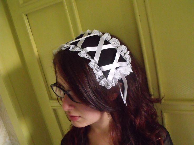 how to make a gothic lolita headwear diy cosplay - tutorial come fare cuffietta crestina gothic lolita fai da te