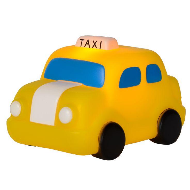 Taxi LED Bordlampe -  Taxi er en smart liten LED-lampe som ser ut som en gul drosje og kan fungere både som en bordlampe, en leke og en nattlampe som vil hjelpe barn som er redde for å skru av lyset på natten. Lampen vil gi et dempet lys i rommet, nok til at det ikke er så skummelt lengre. Den er produsert av PBA-fri vinyl og ABS.