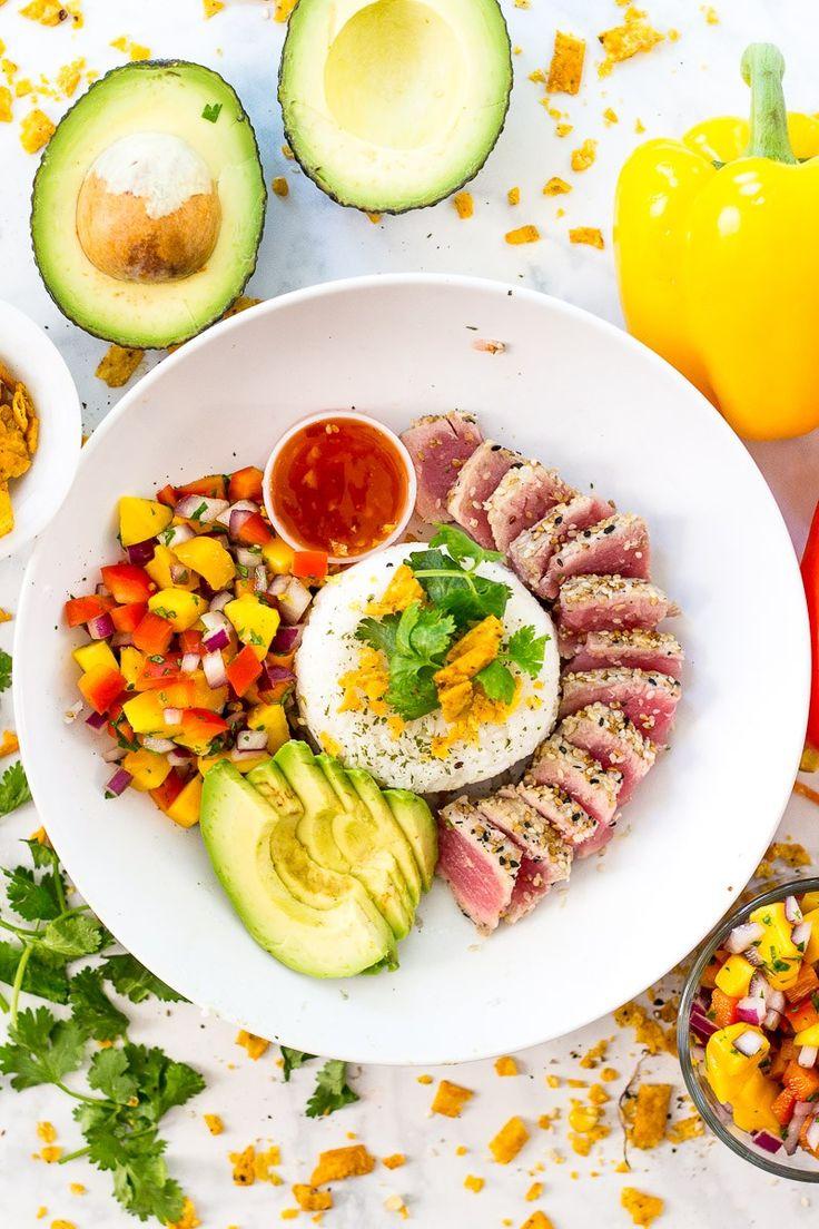 Bonefish Grill Tuna Bowls with sliced avocado, mango salsa and sweet chili Thai sauce!