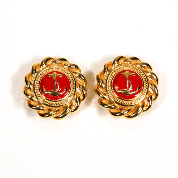 Gold and Red Anchor Earrings, Round, Rope Detail, Preppy, Nautical, Beach, Clip On, Designer Vintage Jewelry, 1980s