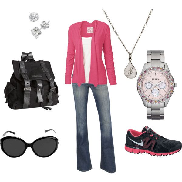 Oh so comfy ~ created by saravanover on Polyvore: Shoes Girls, Sun Glasses, Style, Heels, Necklaces, Adventure Outfit, Shoes Clothing, Bags, Tennis Shoes