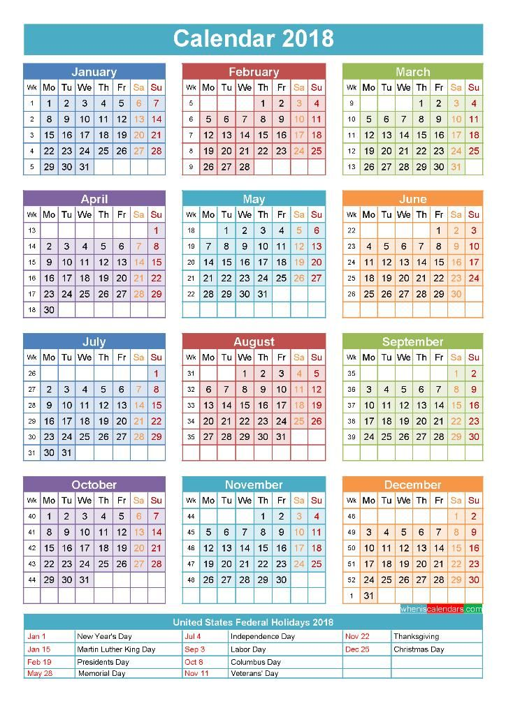 Calendar 2018 Holidays Template Yearly Calendar Template