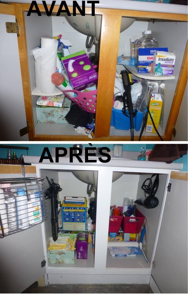 organisation de ma minuscule salle de bain tape 1 l 39 armoire sous l 39 vier id e. Black Bedroom Furniture Sets. Home Design Ideas
