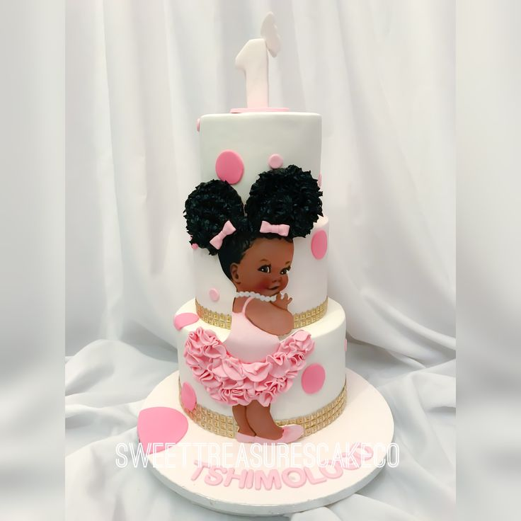 Tshimologo celebrated her 1st birthday with this cutie... I absolutely ❤️ making these cakes.  #sweettreasures #sweettreasurescakeco #1stbirthday #tshimologo #babydoll #afrobaby #nativechild #ballerina #afropompoms #butterfly #polkadot #gold