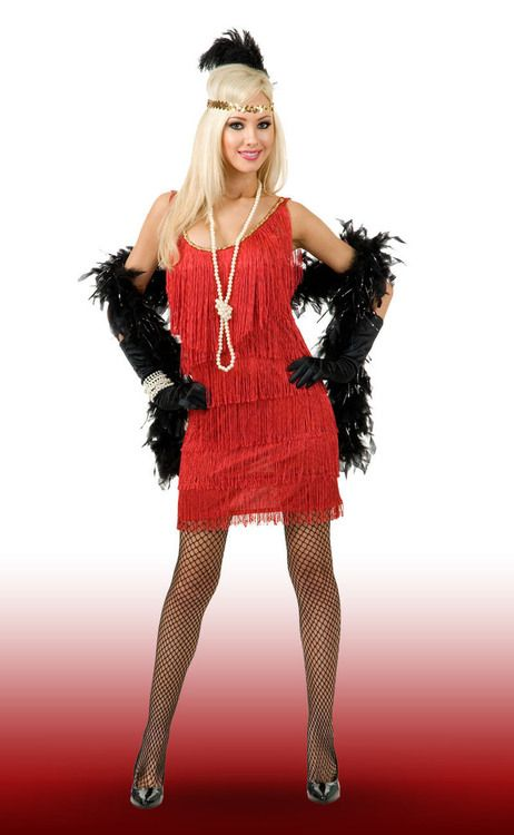 Red Fringe Plus Size Flapper Costume | Masquerade Express