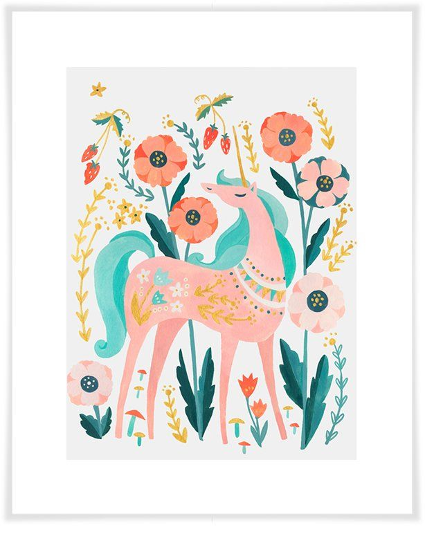 Arnulfo Sweet Unicorn Paper Print   Kids\' Room / Nursery Wall Art ...