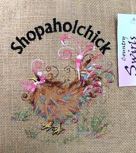 Chicken Embroidery shopaholchick on Country Swirls hessian Bag www.countryswirls.com