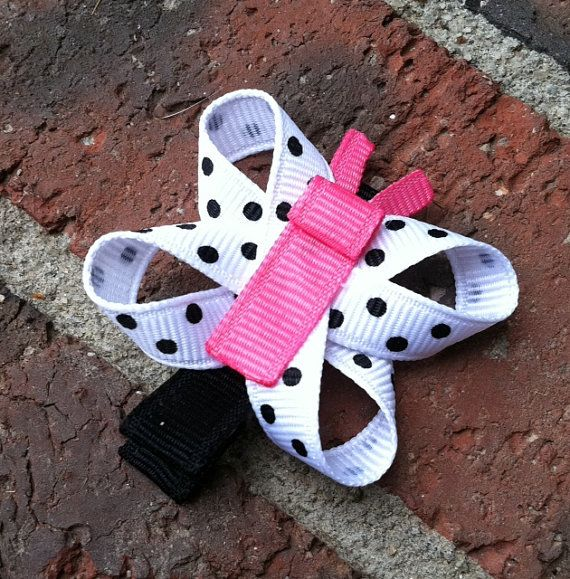 Hot Pink, Black, and White Polka Dotted Butterfly Ribbon Sculpture Hair Clip... Free Shipping Promo