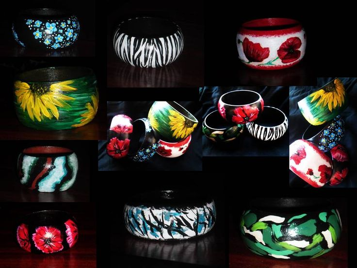 wooden bangles, painted and varnished