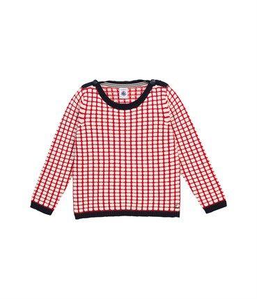 Pull fille en tricot jacquard carré de laine et coton - Petit bateau