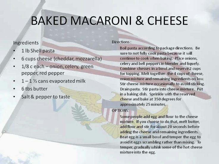 US Virgin Islands Baked Macaroni & Cheese Recipe