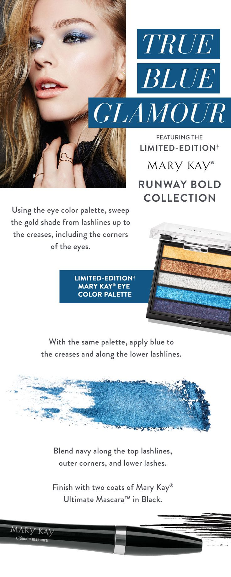 Update your classic smoky eye with intense blue hues! Makeup tip from Mary Kay Global Makeup Artist Keiko Takagi: To give this look an everyday twist, add blue shadow just to the lashlines. | Mary Kay