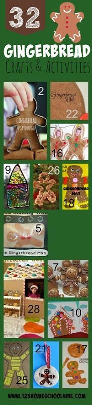 32 Gingerbread Crafts and Kids Activities - SO many fun, clever Christmas crafts for kids of all ages from toddler, preschool to kindergarten 1st grade, 2nd grade and more. (Christmas activities, December crafts, kids activities)