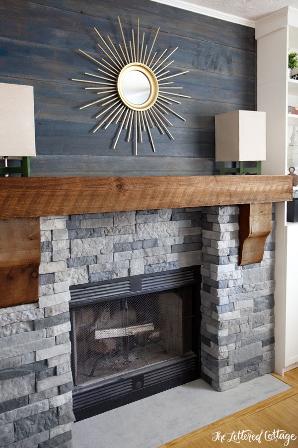 "Airstone Faux Stone Fireplace Makeover - Spring Creek colored stones (looks like real stone but weighs 75% less), above mantel old barnwood planks are stained with watered-down Olympic's blue-gray ""Amersterdam"" and Behr's ""Atlantic"" stain"