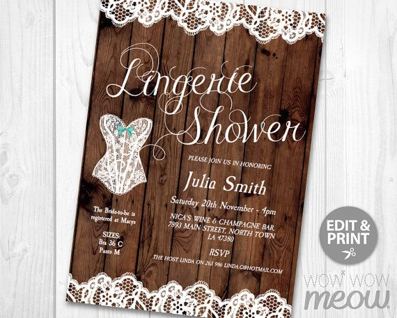 80 best lingerie shower invitations images on pinterest lingerie lingerie shower invitation lace rustic wood invite by wowwowmeow stopboris Images