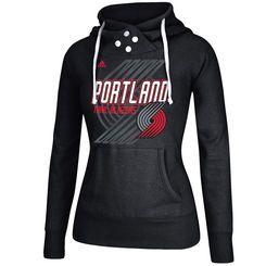 Portland Trail Blazers adidas Women's Distressed Back Logo Hoodie - Black