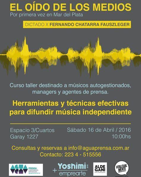 Habemus flyer de mi #Curso taller de #difusion y #artistica para MÚSICXS: 16/4 en #MardelPlata 😀🎸🎷🎹📻 #autogestion #socialmedia #marketing #musicos #independientes #indie #rock #pop #jazz #tango #folklore #electrónica #herramientas #estrategias