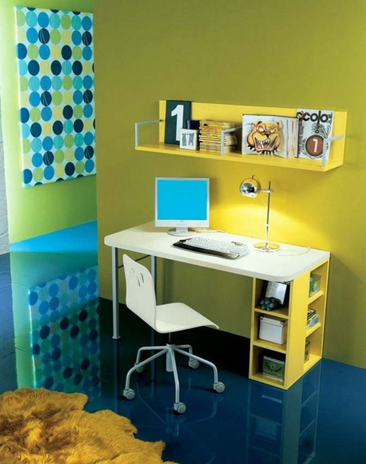 Ideas For Kids Study Table: Study Table Design Furniture Small Space With  Yellow Wall Color Part 24