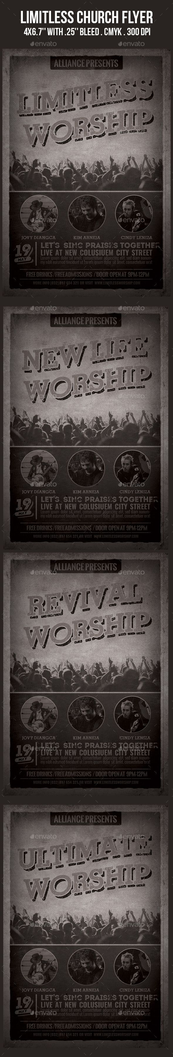 Limitless Church Flyer (CS2, 4x6, album release, alternative, band, Benefit, christian, church, concert, fest, festival, gig, gospel, grunge, indie, live, minimalist, music, party, pop, poster, praise, print, rock, show, singer, talent, vintage, worship, youth)
