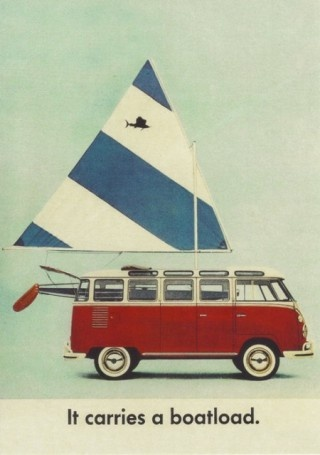 VW Bus with a Sailfish sailboat - RETRO to heck and full of awesomeness