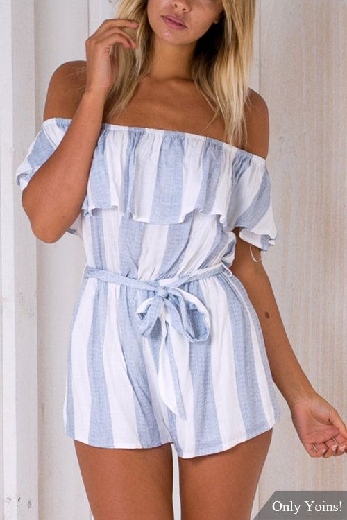 Sexy Off Shoulder Stripe Pattern Playsuit with Self-tie Design