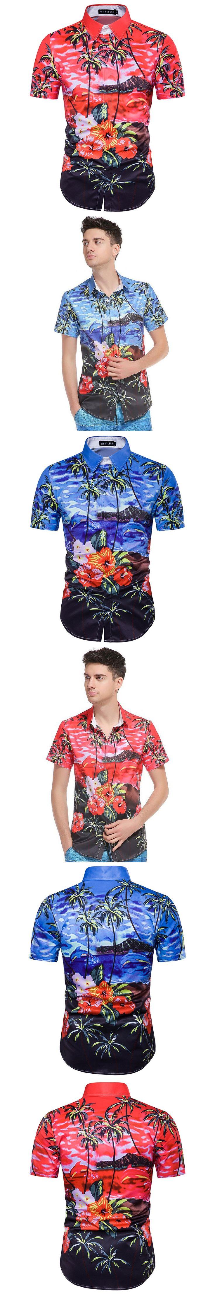 2017 Summer New Men Hawaii 3D Palm Tree Print Short Sleeve Shirt Fashion casual Flower Shirt Camisa Sandy Beach men shirt