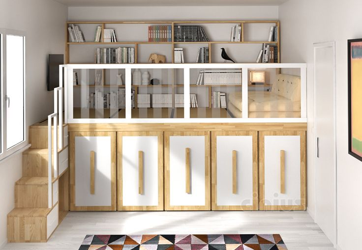 Soppalco Impero calpestabile con libreria e divano da salotto