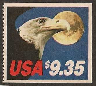 The US Postage Stamp Price increases for Express Mail have resulted in some very high value stamps.    On the bright side, the US Postal Service has used these high value stamps to display some of the most beautiful of all modern designs with one example of the Eagle Over Moon design here.