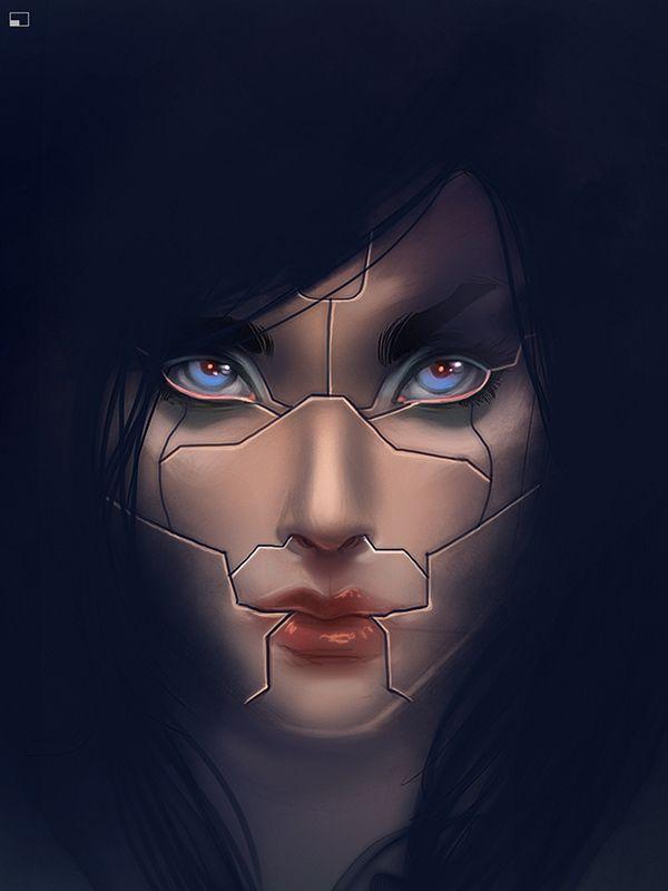 iPad painting using procreate step 3  Cyborg transformation