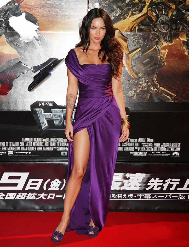 Celebrity Dresses Megan Fox Sexy Purple Evening Dress Premiere of Transformers 2 in Tokyo