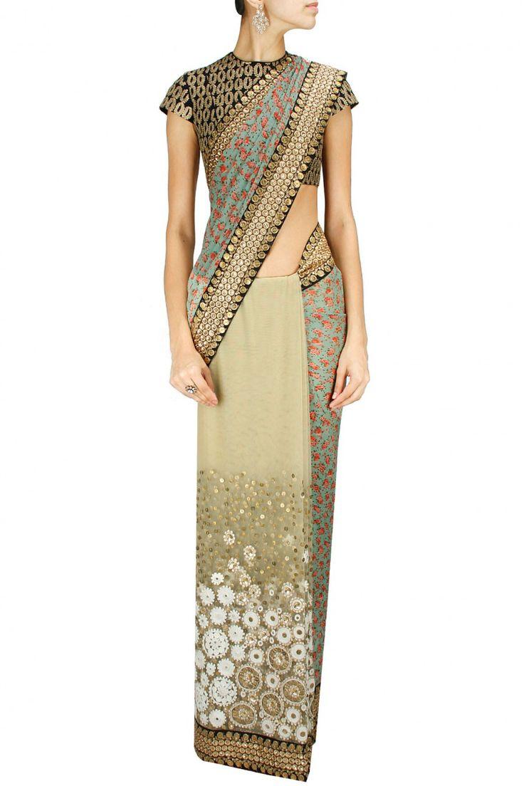 SABYASACHI - 2014 Floral block printed chiffon and embroidered tulle sari with black dori work blouse via perniaspopupshop.com