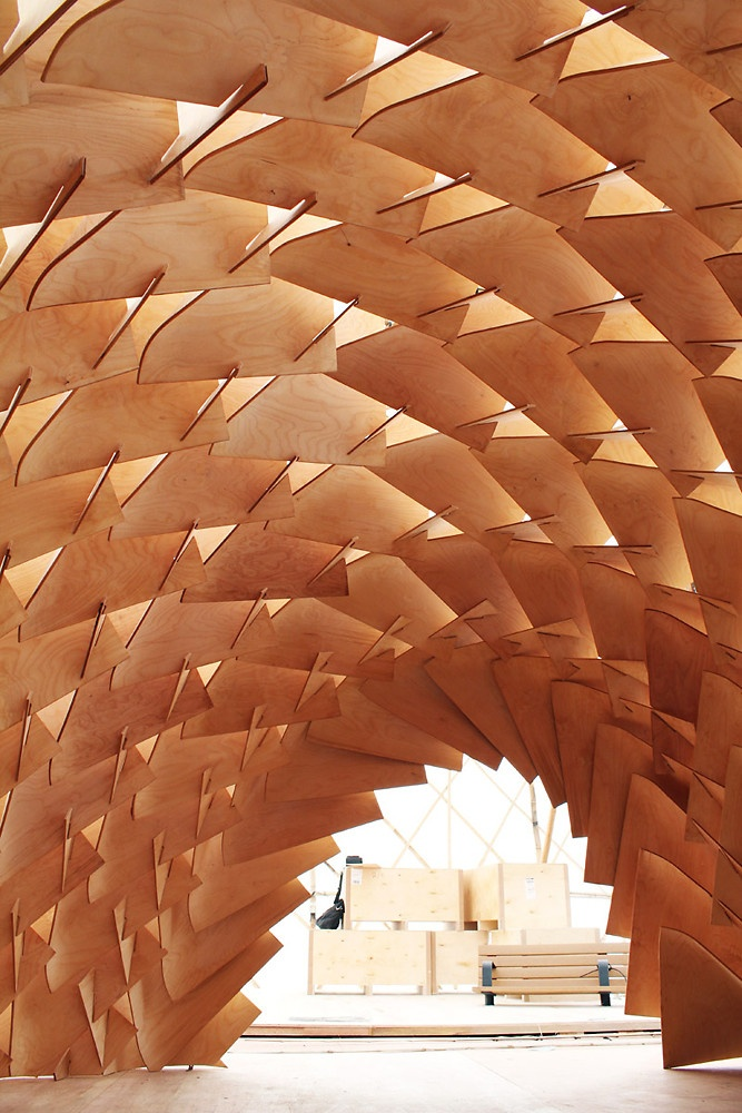 The Dragon Skin Pavilion, a collaboration between the Laboratory for Explorative Architecture and Design (LEAD), a Hong Kong- and Antwerp-based firm, and the Tampere University of Technology in Finland