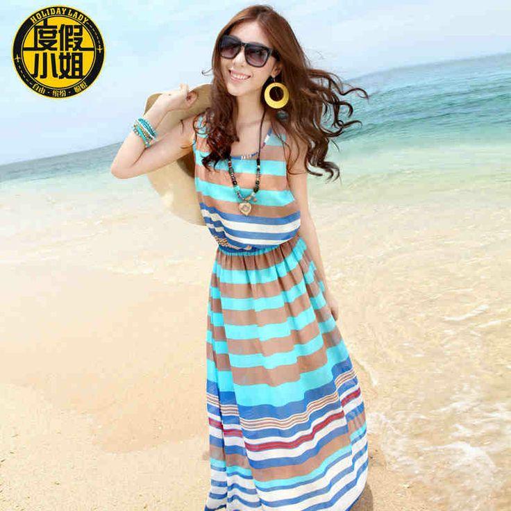 Мисс пляжный курорт платье пляж платье шифон летом платье случайно морской курорт Бали полосой юбка-tmall.com Lynx