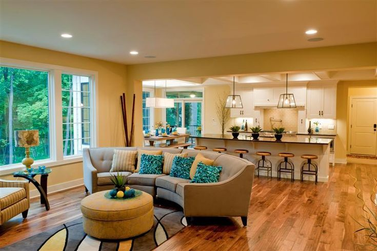 Living room couch and kitchen island: Dining Rooms, Austere Room, Family Rooms, Inspirational Rooms, Living Great Sitting Rooms, Traditional Living Rooms, Favorite