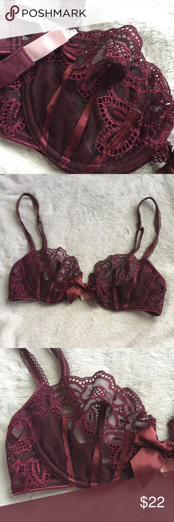 Victoria's Secret Unlined Lace Balconet Bra Beautiful unlined lace balconet bra by Victoria's Secret. Size 34B. Burgundy with gold detailing. Excellent condition. Victoria's Secret Intimates & Sleepwear Bras